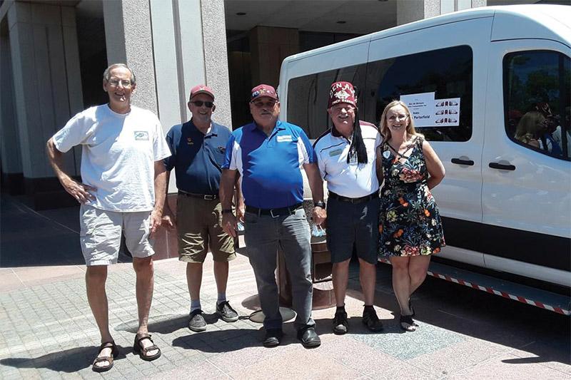 Shriner collection crew with van